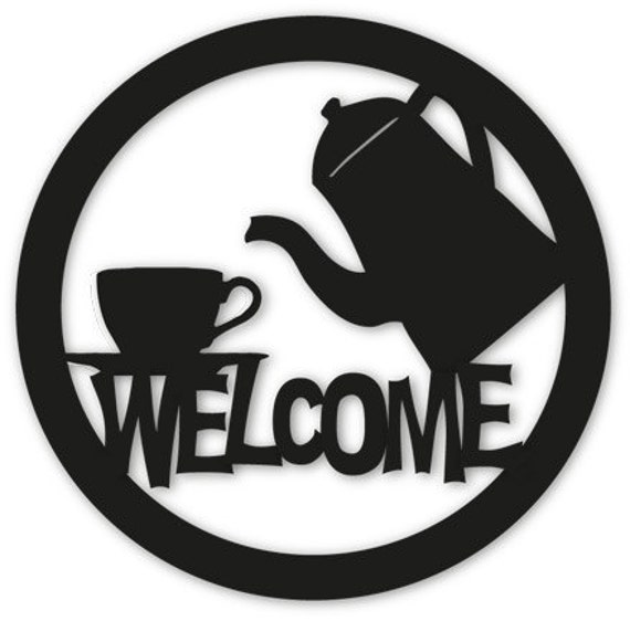 Coffee or tea welcome sign wall art home decor hanging for Tea and coffee wall art