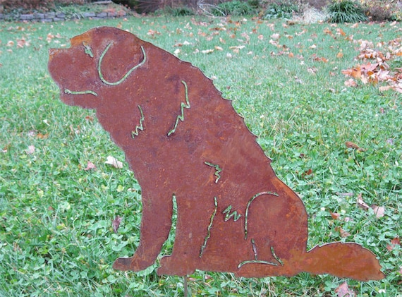 St. Bernard Garden Stake or Wall Hanging / Pet Memorial / Garden Art / Garden Decor / Yard Art / Lawn Ornament / Metal / Outdoor / Rusty
