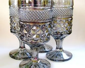 Smoke and Mirrors - Vintage Silver Luster Pressed Glass Goblets