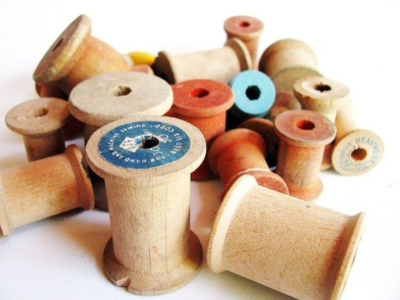 Vintage Wooden Spools - Random Collection for Crafting or Workroom Decor