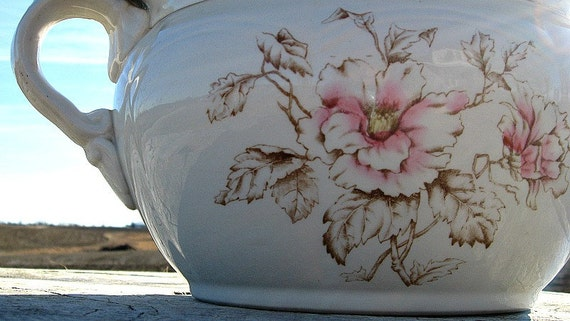 A Floral Semi Porcelain Chamber Pot for the Romantic Home