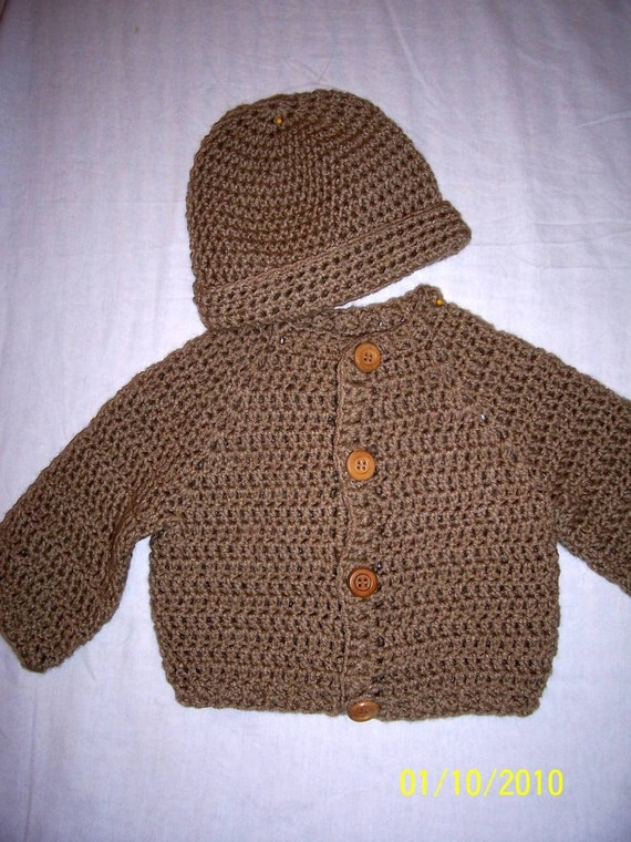Boys Medium Brown Sweater and Beanie Set, Size 1 year