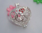 Wholesale lockets - 5pcs Linked Rings - Puffy Heart Lockets - Bead cage - Pearl cage