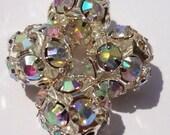 8pcs Vintage Style Sparkle Balls - sparkling AB Rhinestones Beads 10mm