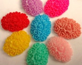 16pcs Lovely Ruffled Flower Cabochons 18 x 13mm