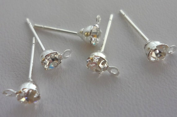 16pcs silverplated rhinestone/crystal Earring Posts With Loop And 16pcs Earring Backs 15mmx6mm