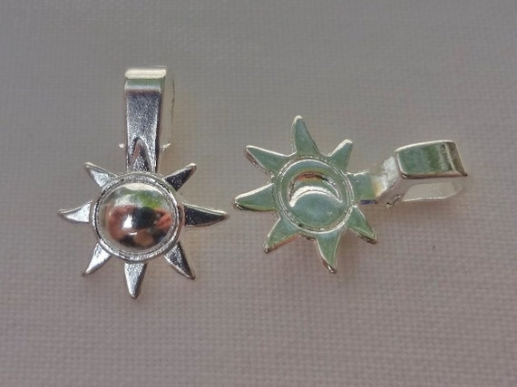 20pcs Silver plated - sun and moon - glue on bails
