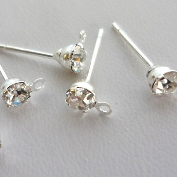 32pcs silverplated rhinestone/crystal Earring Posts With Loop And rubber Earring Backs 15mmx6mm