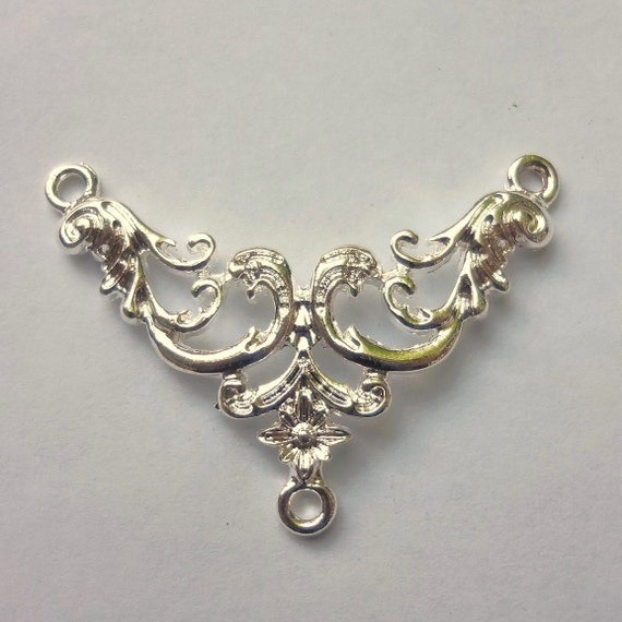 6pcs Silver plated - floral filigree - center connectors