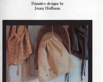 Primitive Folk Art Cross Stitch Pattern - Primitive Spring Ditty Bag - DESTASH