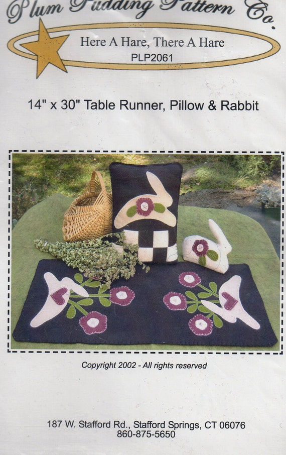 Primitive Folk Art Applique Pattern - Here A Hare, There A Hare - DESTASH