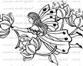 Fairy drifting with a Flower garland digital art stamp 10165