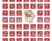 Funky Alphabet initials and More on Red Polkadots Digital Printable Scrabble Tile Art Sheet 10123
