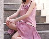 Pink Bridesmaid Dress 20s Style Drop Waist Asymmetrical Collar Handkerchief Skirt, Mauve Flapper Wedding Dress Satin Chiffon, Made to Order