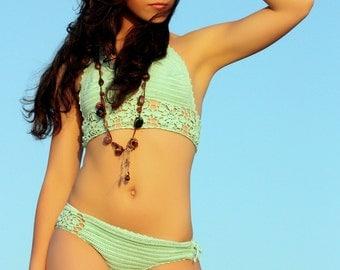 Mint Green Crochet Bikini Coachella Style,Two Piece Boho Chic, Bohemian Wedding Handmade Swimsuit, Made to Order.