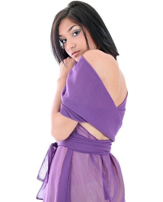 Plum Halter Neck Grecian Goddess Formal Dress, Purple Short Bridesmaid Dress Cape Stole, Chiffon Alternative Wedding Dress, Made to Order