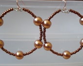 Metallic brown & gold beaded hoops