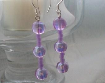 Iridescent purple beaded earrings
