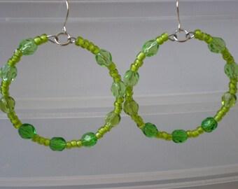 Yellow-green beaded hoops