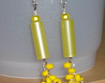 Yellow bead bunch earrings