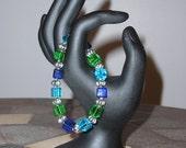 Blue, Green & Aqua Cube Bracelet
