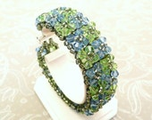 Chunky Crystal Cuff Bracelet, Sapphire Blue and Peridot Green