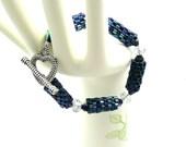 Crystal and Peyote Seed Bead Bracelet in Metallic Blues and Aurora Borealis