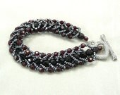 Dark Red Crystal Bracelet with heart toggle