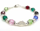 Birthstone Gift Bracelet, Grandmothers Mothers Family Heirloom, Swarovski and Sterling Silver