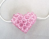 Pink Heart Crystal Pendant Necklace, Swarovski, Sterling Silver Chain