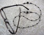 Eyeglass Holder, Beaded Crystal in Black, Gunmetal, and Vitrail