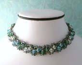 Crystal Choker Necklace woven with Swarovski, Vibrant Blues and Greens
