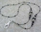 Black ID Holder Lanyard Necklace with Black Sand and Blue Swirl Lampwork Beads