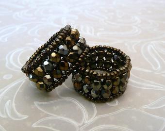 Dark Metallic Brown Crystal Band Ring