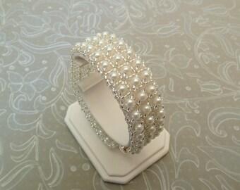 White Pearl Bridal Cuff Bracelet