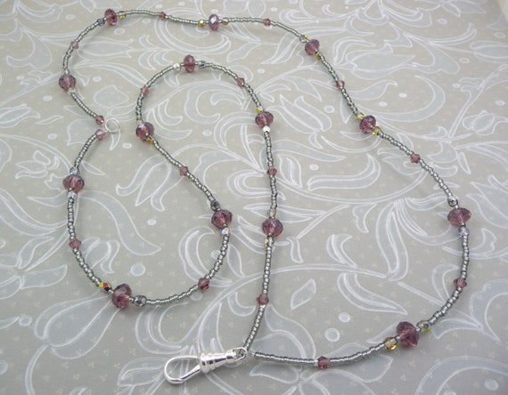 ID Holder Lanyard Necklace in Amethyst with Vitrail Accents, converts to two strand necklace