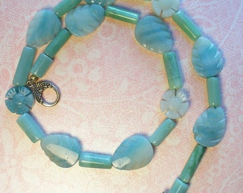 angelic flower and leaves choker necklace in Amazonite with sterling silver clasp