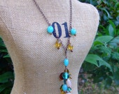 Copper Turquoise Trio-Lariat Necklace, Toggle Bracelet, and Chandelier Earrings