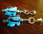 Pair of Blue Frog Fan Pulls with Swarovski Crystal