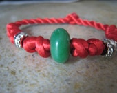 Red Thread Bracelet with Jade Gemstone Bead