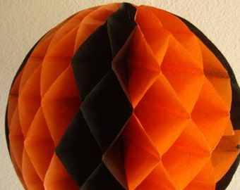 Vintage Halloween Crepe Paper Ball - Orange and Black
