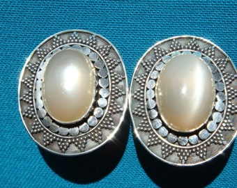 Peach Moonstone and Sterling Earrings