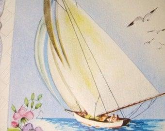 Vintage Unused Greeting Card - Sailboat -  Birthday Uncle -  1940's