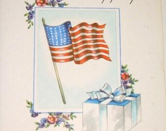 Patriotic Vintage Unused Greeting Card 1940's