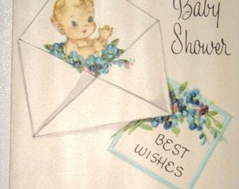 Vintage Unused Greeting Card -  Baby Shower-  1940's -