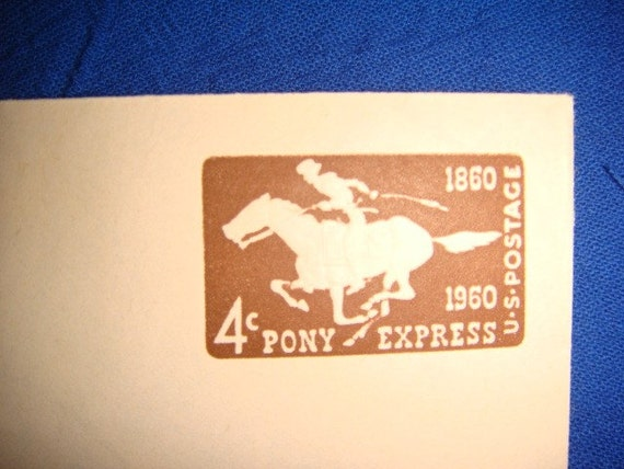 1960 Embossed Pony Express Stamp Envelope 4 Cent Winter
