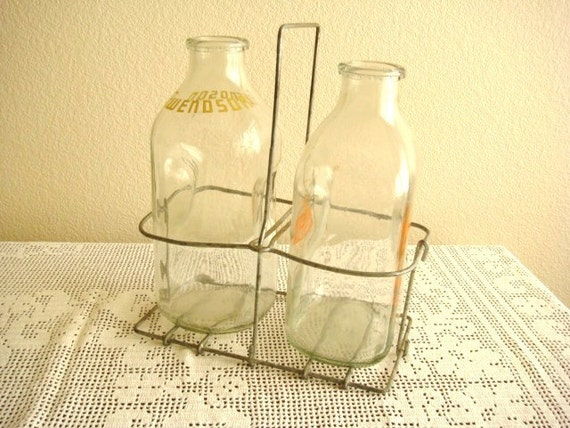 milk bottles with wire carrier. Black Bedroom Furniture Sets. Home Design Ideas