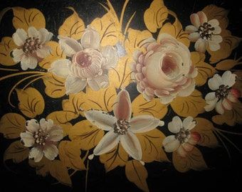 Hand Painted Floral Tole Tray