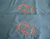 1 pair of king size embroidered pillowcases