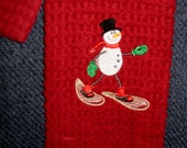 Embroidered hand towel and washcloth set - burgundy with snowman with snowshoes